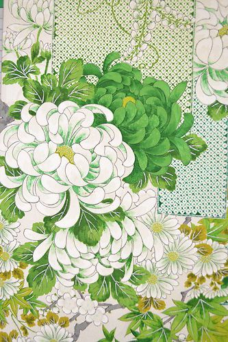 Kimono Fabric. Daisies and chrysanthymums, two of my favorite flowers!