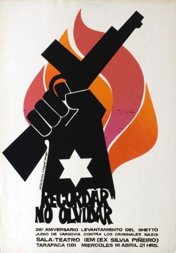Chile. 1970. Affiche de théâtre. Levantamiento del ghetto judío – Recordar no olvidar