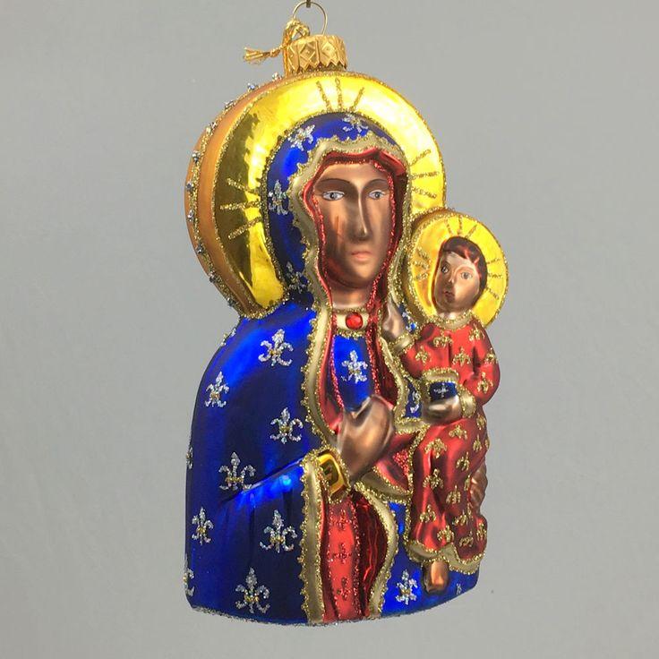 "Edward Bar OUR LADY OF CZESTOCHOWA 6.10"" glass Christmas Ornament Hand-made #EdwardBar"