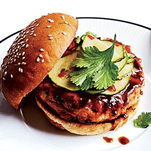 Cooking Light Hoisin-Glazed Salmon Burgers with Pickled Cucumber Recipe - really good!