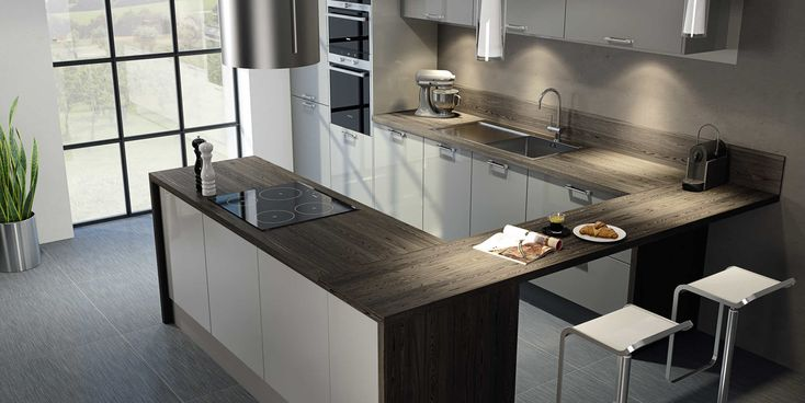 cuisine moderne grise hygena interieur pinterest cuisine. Black Bedroom Furniture Sets. Home Design Ideas
