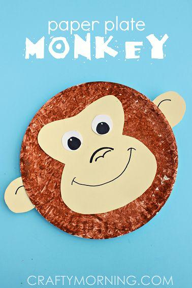 Paper Plate Monkey Kids Craft Idea - Cute jungle art project! | CraftyMorning.com
