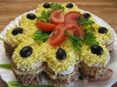 Салат - торт из крекеров Ингредиенты: соленые круглые крекеры250 гр. б. любой консервированной рыбы (сайра, тунец, горбуша)1 шт. пучок зеленого лукапо вкусу яйца, сваренных вкрутую4 шт. твердый сыр150 гр. зубчик чеснока1 шт. майонезпо вкусу