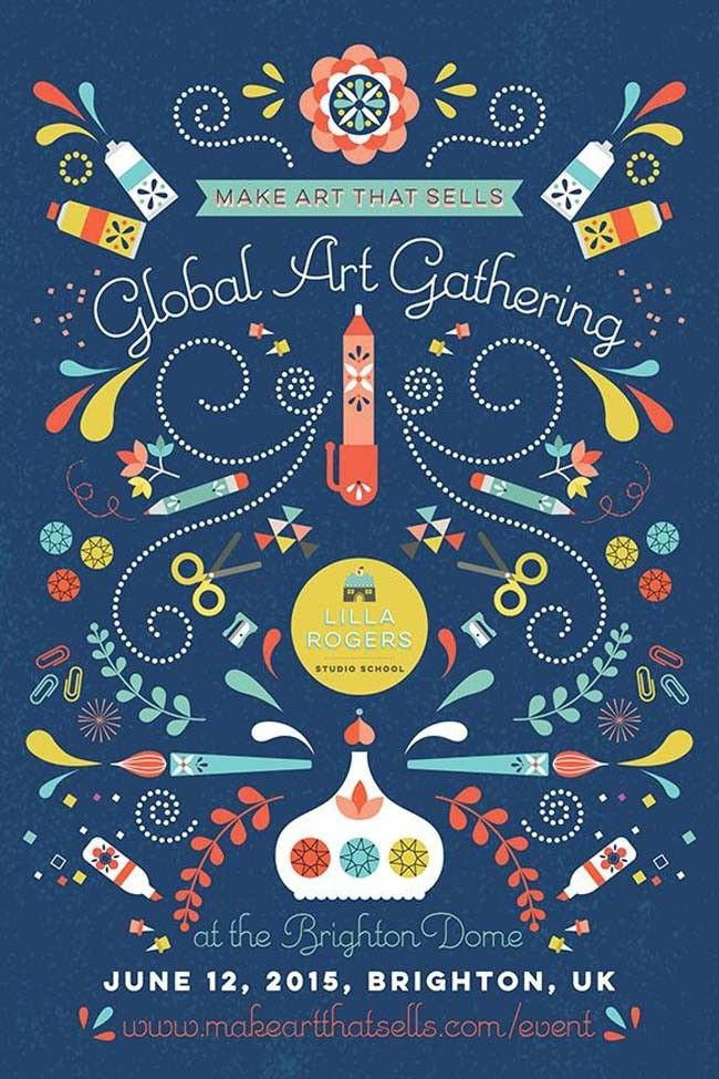 How exciting is this! I was a RUNNER UP for the Brighton Event Poster Design - Read all about it here! #makeartthatsells #mats #bootcamp #lillarogers #globalartgathering #illustration #poster #minercia #mariaparrish