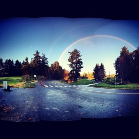 Beautiful double rainbow at Fairwinds Community & Resort in Nanoose Bay, BC (Vancouver Island).