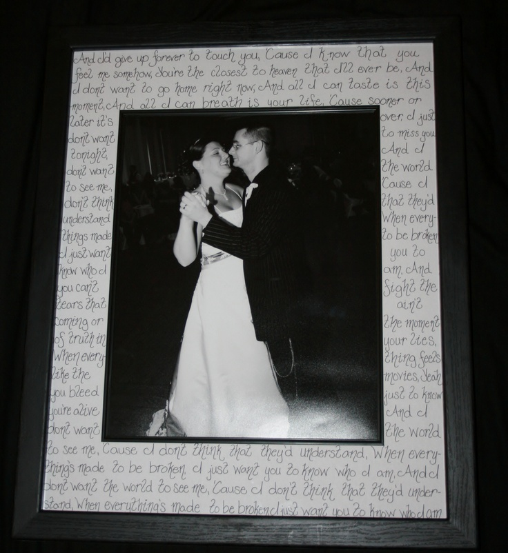 Cute Wedding Songs: Purchase A Frame With A Wide Matte, And Write The Song
