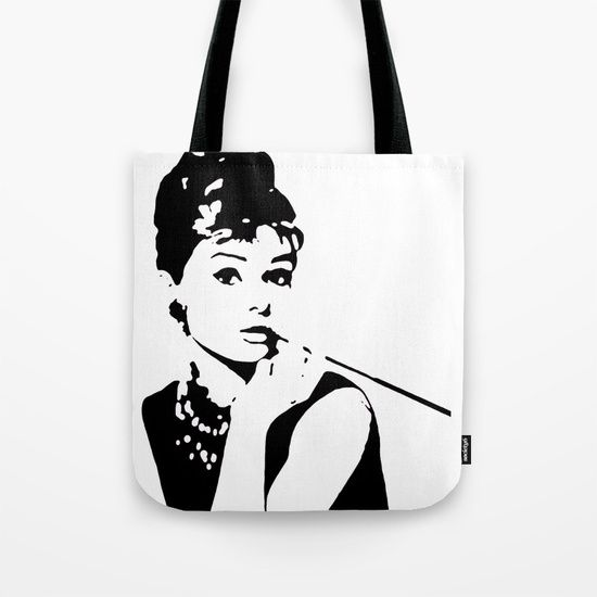 Audey Hepburn Style Modern Art Tote Bag by Dominic Joyce | Society6