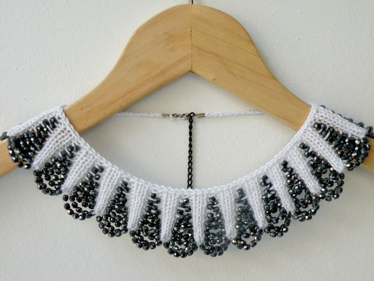 Hand Knit White Necklace Collar with Black Glass Beaded. $ 25.00, via Etsy.  | Must remember this display idea ...
