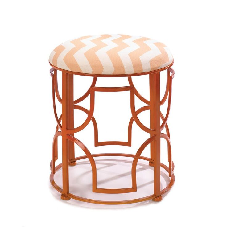 "Chic Chevron Stool. Go bold! This dramatic stool is designed to add a dose of color and a splash of dynamic style to your room. The openwork iron frame features a fantastic design and glossy orange finish and the chevron pattern padded seat is the perfect finishing touch. Spot clean only.  Item weight: 6.20lbsItem dimensions: 16.25"" W x 18.00"" H x 16.25"" LMaterials: Iron Linen SpongeUPC: 849179019556"