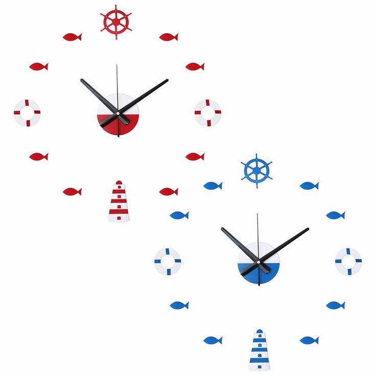 Charminer Red Blue 3D DIY Retro Wall Sticker Clock Fish Rudder Lifebuoy Sea Home Decore Gift