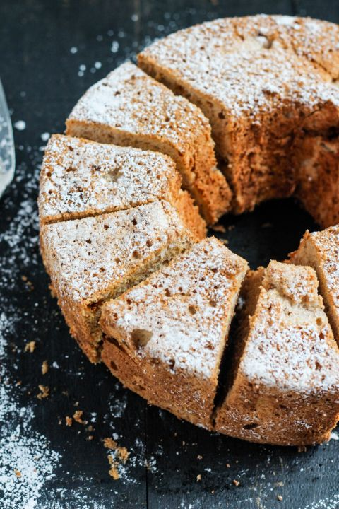 Incredible soft and fluffy pumpkin angel food cake. Gluten free and perfectly spiced. The perfect fall dessert to bring to a party!
