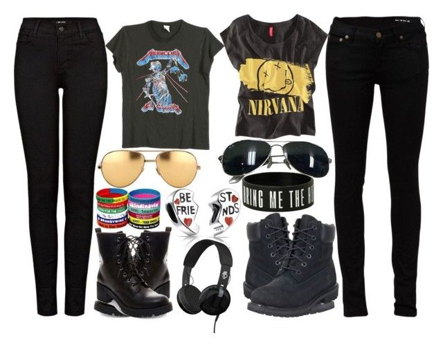 Best Metal Friends by slytheriner on Polyvore featuring MadeWorn, Chicnova Fashion, Yves Saint Laurent, J Brand, Timberland, Madden Girl, Bling Jewelry, Linda Farrow, Ray-Ban and Skullcandy
