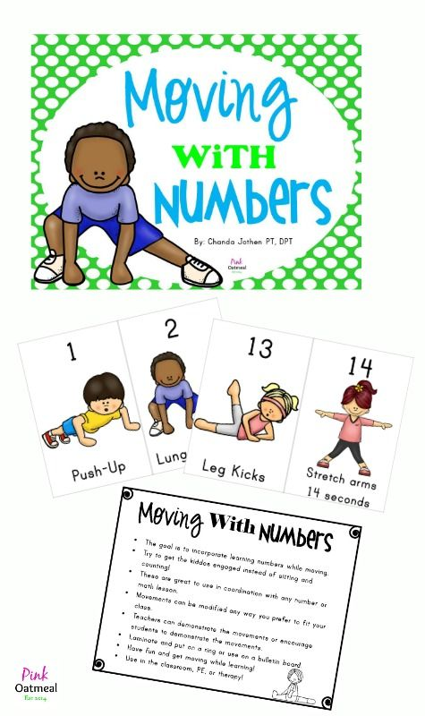 Moving With Numbers.  Actions for numbers 1-20 - Pink Oatmeal Movement for the Classroom