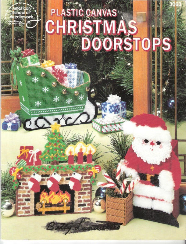 Christmas Doorstops Plastic Canvas Patterns - Sleigh, Fireplace, Santa, Tree+ | eBay