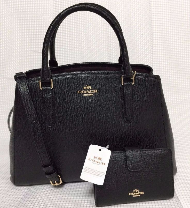 NWT Coach Small Margot Carryall Black Crossgrain Leather Bag Satchel + Wallet #Coach #Satchel