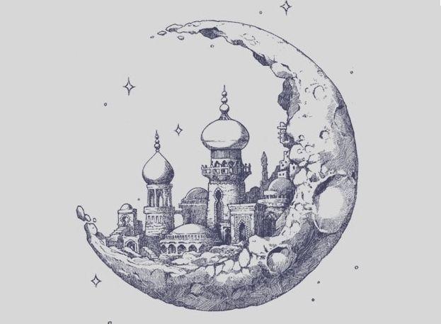 Moon + Drawing + Handmade + Illustration + Castle + 1001 nights + Stars
