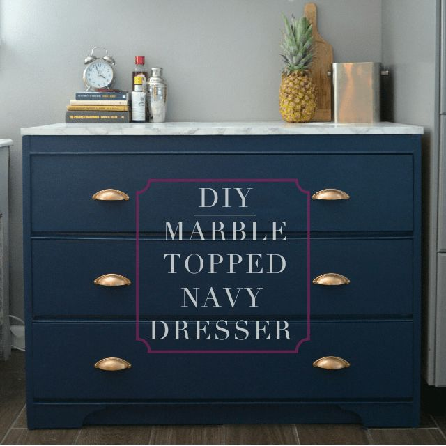 DIY:Marble Topped Navy Dresser                                                                                                                                                     More