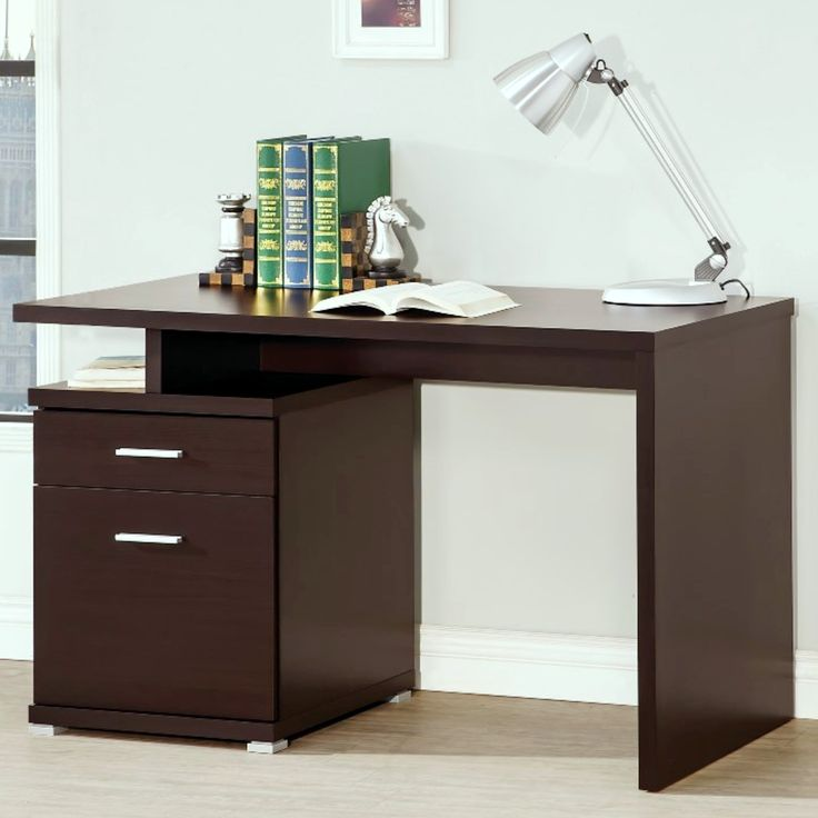 kuchenschranke discount : Modern Design Home Office Cappuccino Writing/ Computer Desk with File ...