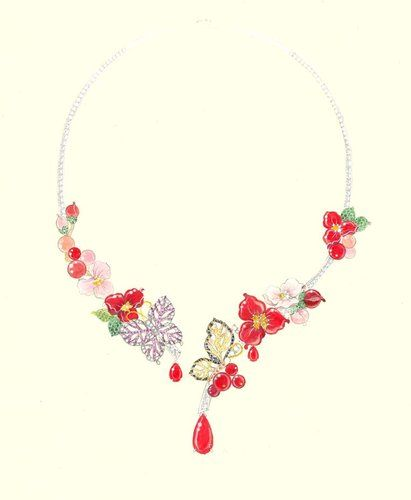 Butterfly & flowers necklace sketch...♡