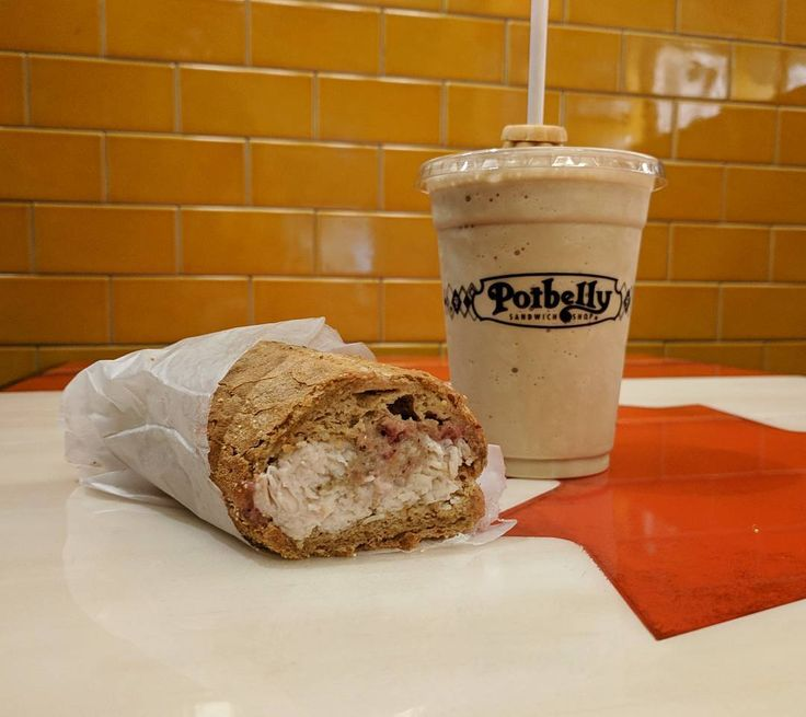 Getting festive at @potbellycanada with their Holiday Turkey Sandwich and a Hand-Scooped Coffee Milkshake! Holiday sandwich includes shaved turkey breast stuffing and cranberry mayo- available until Dec 29. #turkeydinnersandwich #toronto