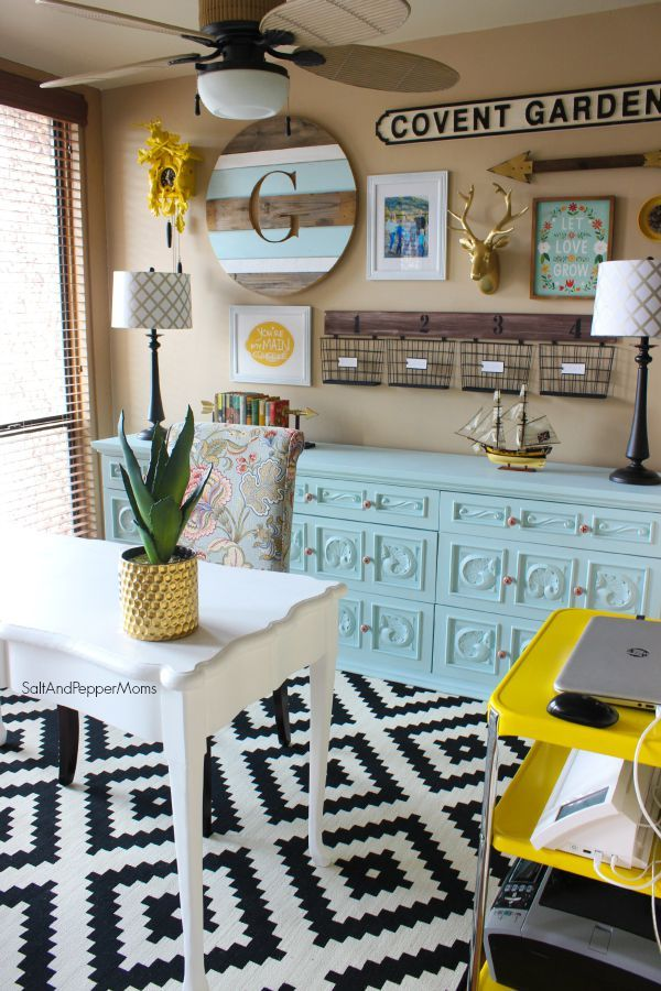 colorful office decor. Home Office Makeover: Decorating Inspiration With Yellow And Blue, Gold Accents, Black Colorful Decor Y