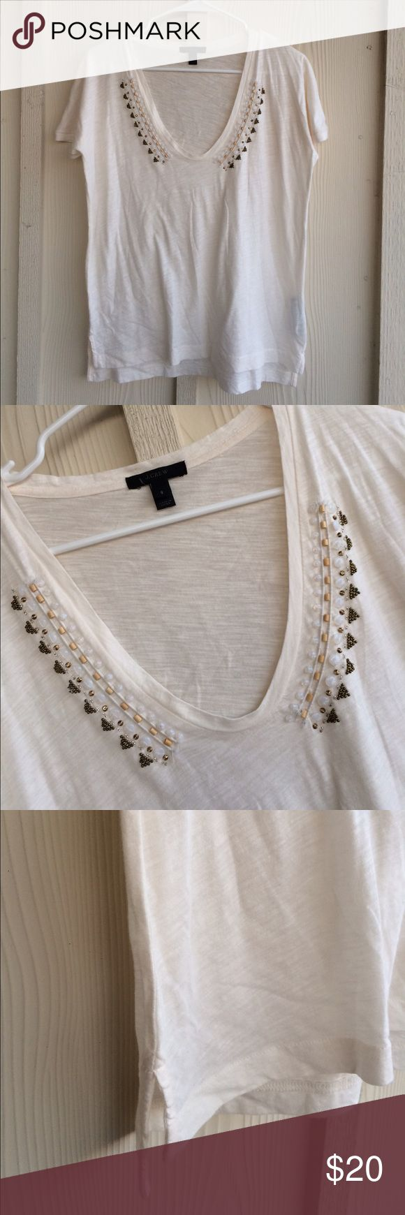 CLOSEOUT 🎀 J. Crew Embellished Cream Tee Beautiful embellished deep scoop neck tee. Excellent condition. Side slits and all stones intact. J. Crew Tops Tees - Short Sleeve