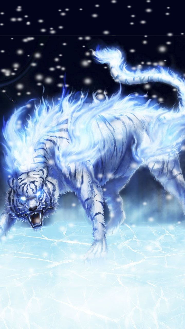 Icy flame neon white tiger. Blue white tiger wallpaper
