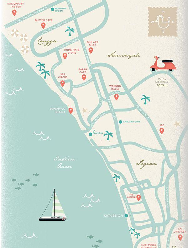 Bali Trip Map Illustration on Behance