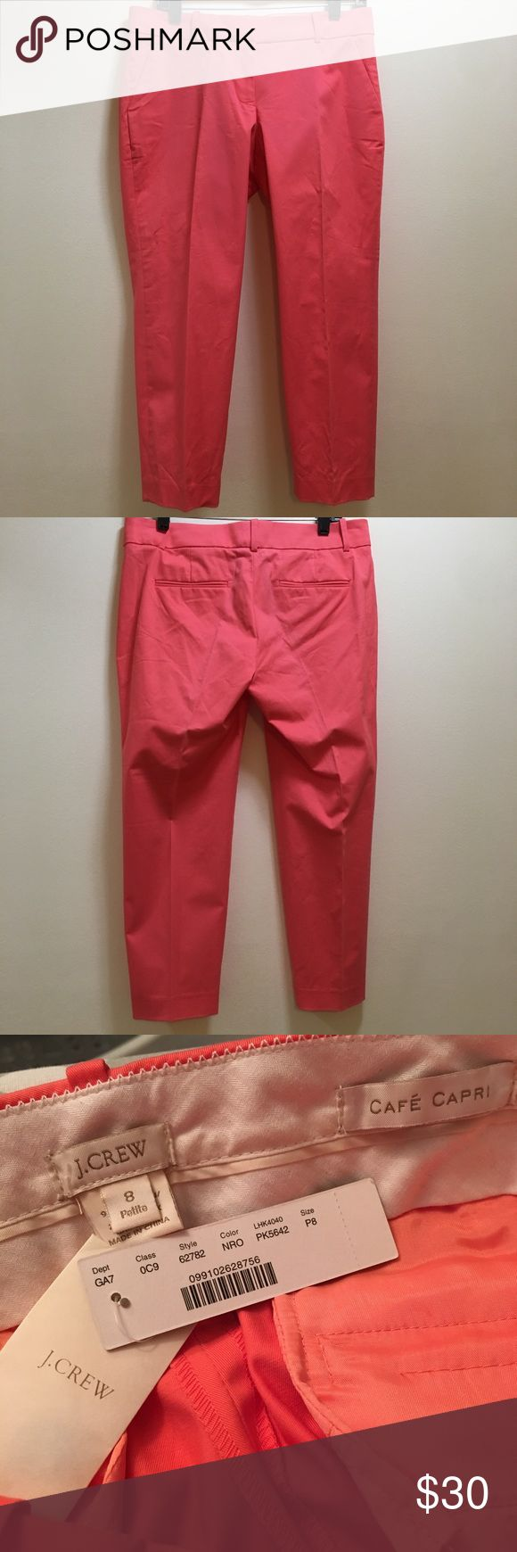 """Sz 8P J. Crew Cafe Capri - Coral New with tags Cafe Capri is the style Size 8 Petite Please see the photo of the back. There is a line down the back. I would assume it would wash out but I didn't want to wash them since they are new with tags. Plus, I'm not good at getting stuff off of clothes so I figured if you are - I didn't already damage it more with the dryer! Price reflects the unknown line (but again I'm sure it'll wash out) 16"""" waist laying flat 9"""" rise  Inseam 23.5"""" J. Crew Pants…"""