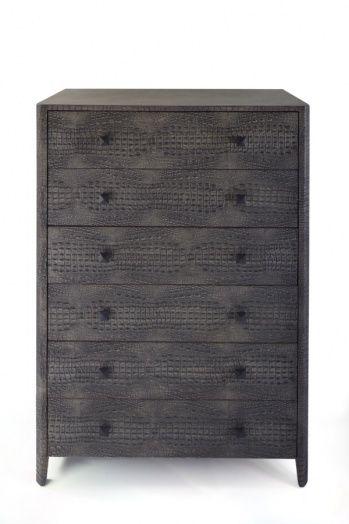 Faux crocodile skin 6-drawer tallboy, grey color.