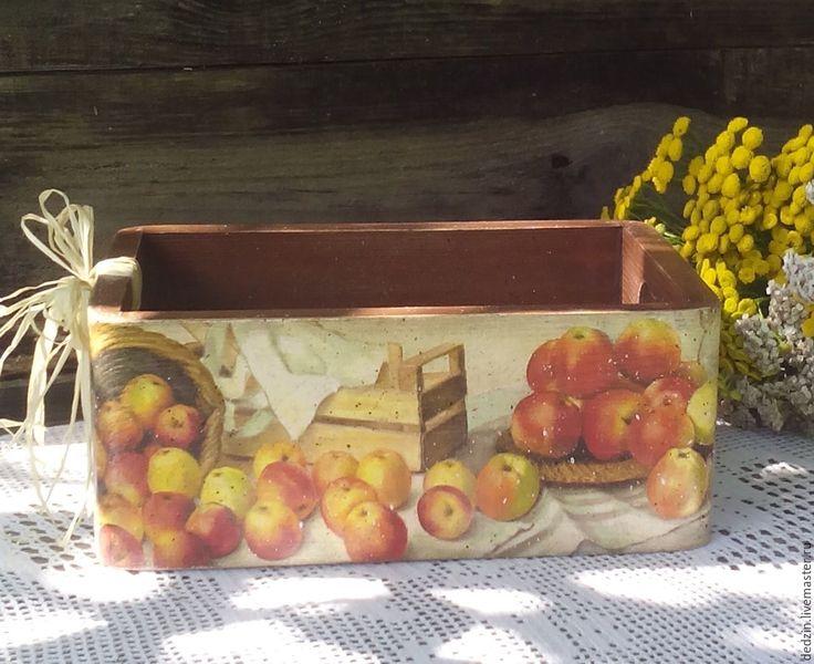 """Купить Короб """"Яблочное лето"""" - комбинированный, короб для кухни, ящик для хранения, деревянный короб"""