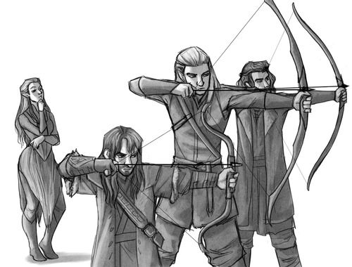 Kili, Legolas, and Bard the Bowman...is it just me, or is Tauriel totally checking the 3 of them out? X)...cause I would be!