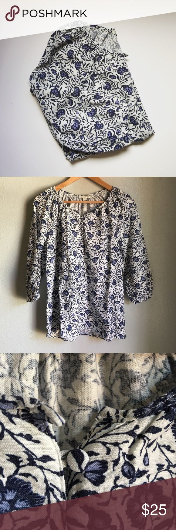 "Floral Blouse -Excellent condition, no flaws  -loose, flowly fit -missing top button -linen type material   Trades welcomed| Please submit all offers through the ""offer"" button Tops Blouses"