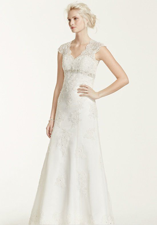 David S Bridal Collection Style Cap Sleeve Lace Over Satin Gown With Illusion Back