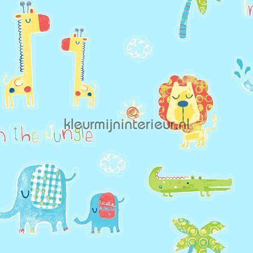 Wij wonen in de jungle aqua behang G45146 uit de collectie Tiny Tots van Noordwand koop je bij kleurmijninterieur