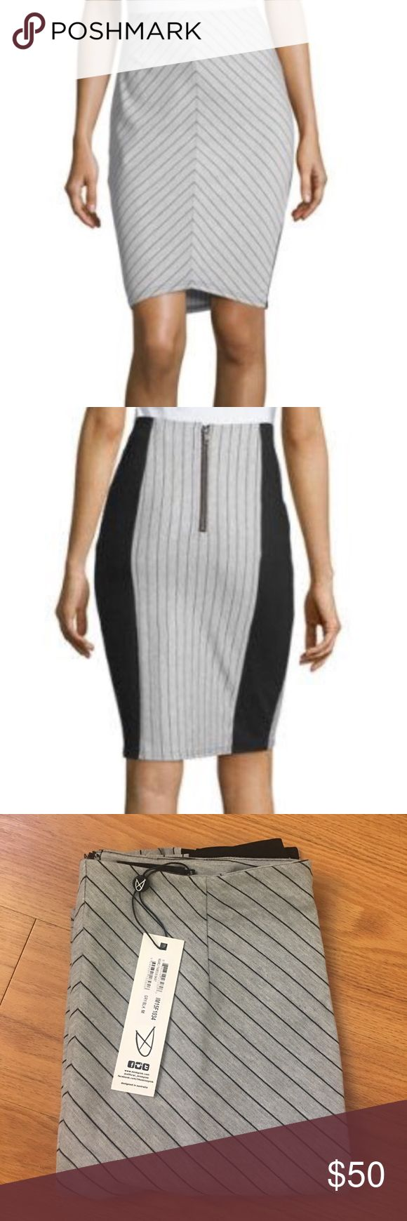NWT MINKPINK Grey/Black Striped Pencil Skirt NWT.  Super cute day to night MINKPINK pencil skirt.  Size M.    Waist is 15 in flat across.  22.5 long down side, 20 in straight down the middle.  Fits a size 8-12.  Send me an offer! MINKPINK Skirts Pencil