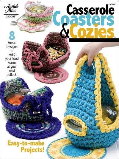 Worked with a single strand of cotton worsted yarn and using a variety of beautiful stitches and colors, the Coasters will protect your table and countertops. Cozies are done in big needle crochet to work faster. The matching Cozies are worked with 8 strands of yarn to keep your delicious creations piping hot. All 8 sets are quick to create, are practical and make perfect gifts. You'll surely want to crochet several sets for yourself! Skill Level: Intermediate