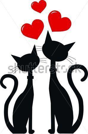 Dos Gatos Negros En El Amor imágenes prediseñadas (clip arts) - ClipartLogo.com