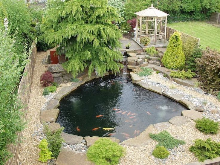 use of river rock and gravel, mine would have a few larger character rocks - Peter Waddington's koi pond from the 2000's