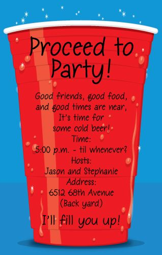 PSP- Big Red Cup-Red Solo Cup invitation, Paper So Pretty, Big Red Cup, Adult party