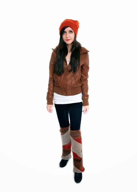 Paper People Clothing: Gwen's Got Style! Hat - Tuque - Upcycled - Reclaimed Vintage - Eco Fashion - Winter Accessories - Cashmere - Angora - Merino - Orange - Brown - Fall - Autumn - Faux Leather Jacket - Leg Warmers