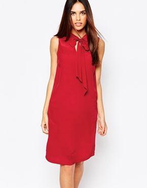 Warehouse Tie Neck Detail Swing Dress
