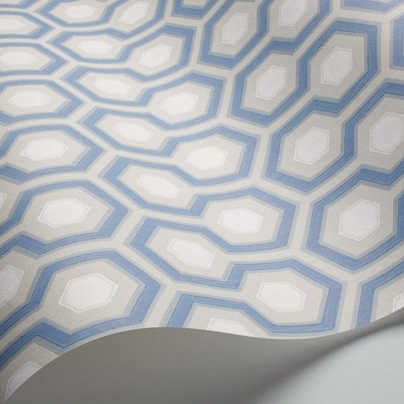 Papier peint Hick's Hexagon, motifs bleus géométriques