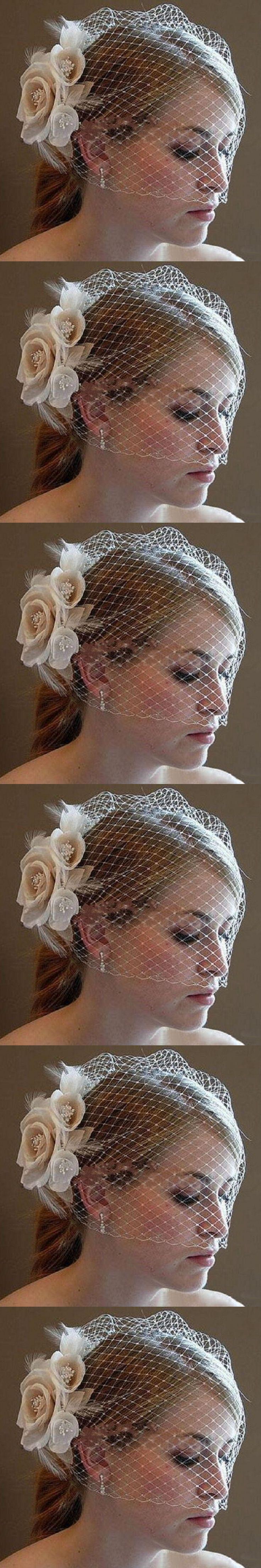 Hot Sale 2017 Wedding Birdcage Veils Champagne Flowers Feather Birdcage Veil Bridal Wedding Hair Pieces Bridal Accessories