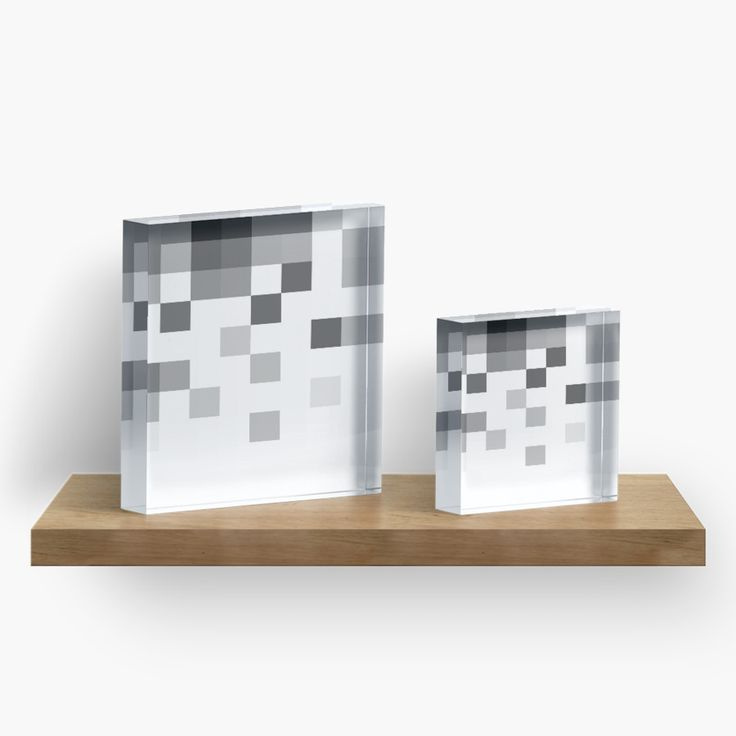 "Gray Scale in Pixels Acrylic Blocks by ARTbyJWP from Redbubble #acrylicblocks #homedecor #minimal #abstract #whiteandgray #artbyjwp - Features: Vibrant back mounted photographic prints. 1"" (2.5 cm) thick solid free-standing acrylic block for desk, table top or shelves Diamond cut sides provide a sharp image from any angle. Hand polished for a crystal clear finish. Available in 4×4"" (10×10 cm) and 6×6"" (15×15 cm)"