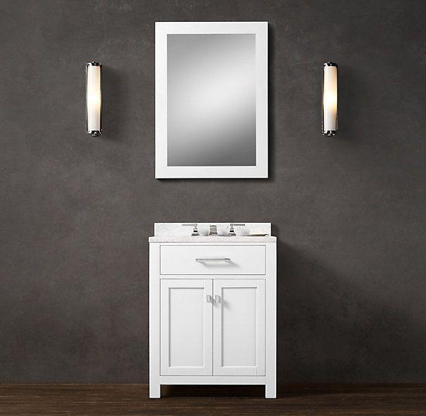 hutton powder room vanity restoration hardware evelyn 39 s bathroom vanity option 27 w x 23 d. Black Bedroom Furniture Sets. Home Design Ideas