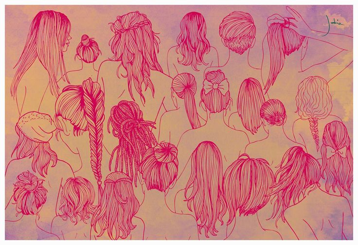 Illustration hair, drawing hairstyle