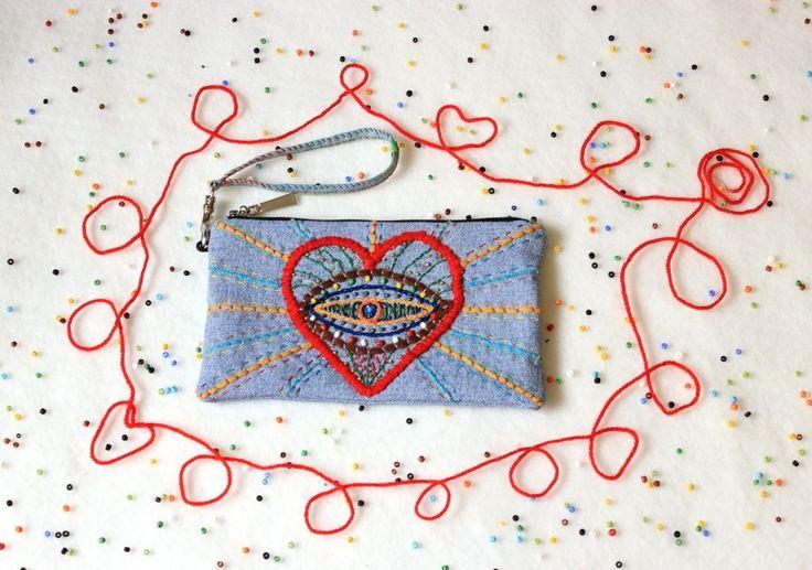 Denim clutch\Bohemian clutch\Embroidery denim\Red heart\small bag\makeup bag\small denim purse\cosmetic zipper purse\boho style bag\denimbag by ZinaNatko on Etsy