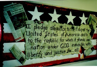 patriotic bulletin board using newspapers