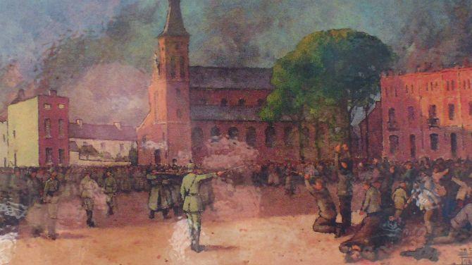 """22 augustus 1914,Tamines -  een """"ville martyre"""" (martelaarstad) in totaal werden in Tamines 383 burgers vermoord, 269 bij de executies op het grote plein, waarbij ook machinegeweren werden gebruikt."""
